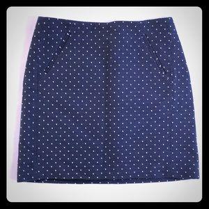 5/$20 Loft Skirt 6 Blue White Dots Cotton Knit